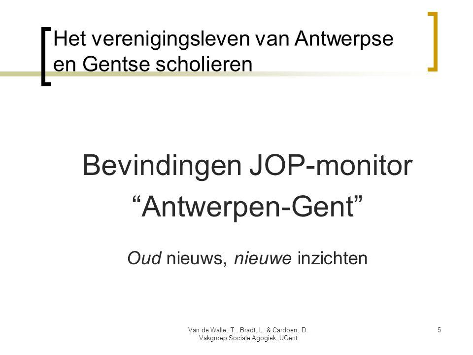 """Het verenigingsleven van Antwerpse en Gentse scholieren Bevindingen JOP-monitor """"Antwerpen-Gent"""" Oud nieuws, nieuwe inzichten Van de Walle, T., Bradt,"""