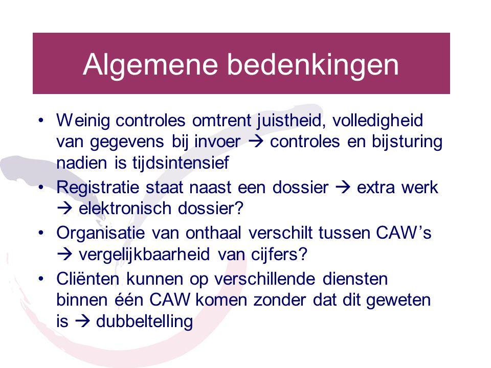 Algemene bedenkingen •Weinig controles omtrent juistheid, volledigheid van gegevens bij invoer  controles en bijsturing nadien is tijdsintensief •Reg