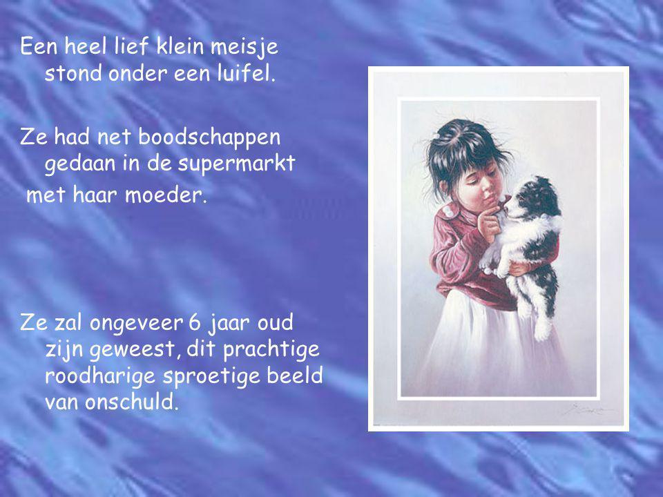 Een heel lief klein meisje stond onder een luifel. Ze had net boodschappen gedaan in de supermarkt met haar moeder. Ze zal ongeveer 6 jaar oud zijn ge