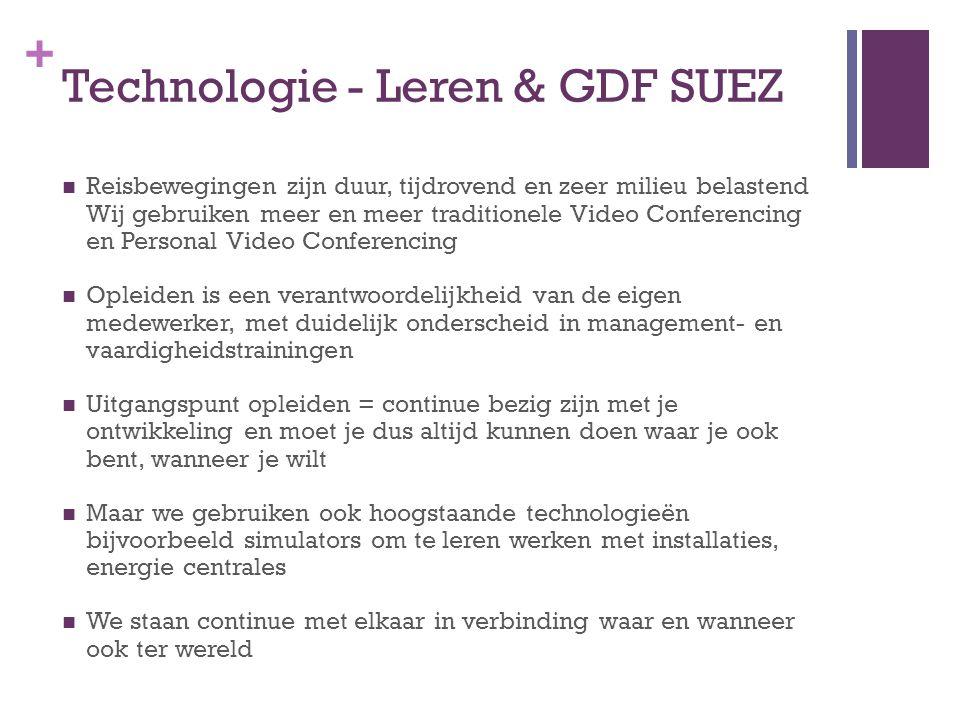 + Technologie - Leren & GDF SUEZ  Reisbewegingen zijn duur, tijdrovend en zeer milieu belastend Wij gebruiken meer en meer traditionele Video Confere