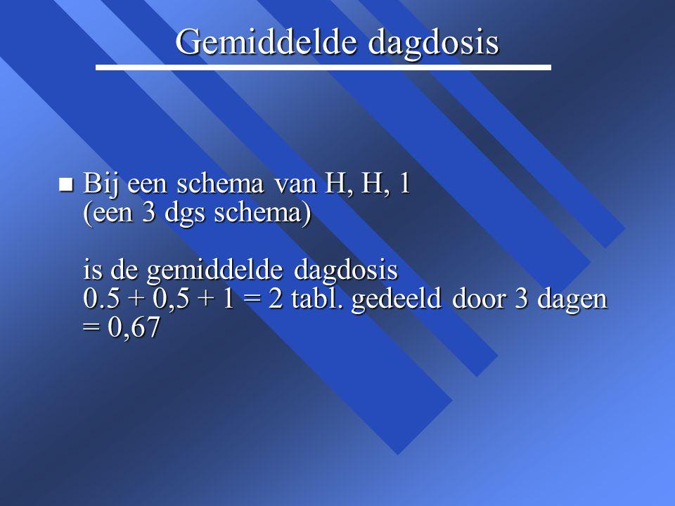 Gemiddelde dagdosis n Bij een schema van H, H, 1 (een 3 dgs schema) is de gemiddelde dagdosis 0.5 + 0,5 + 1 = 2 tabl. gedeeld door 3 dagen = 0,67