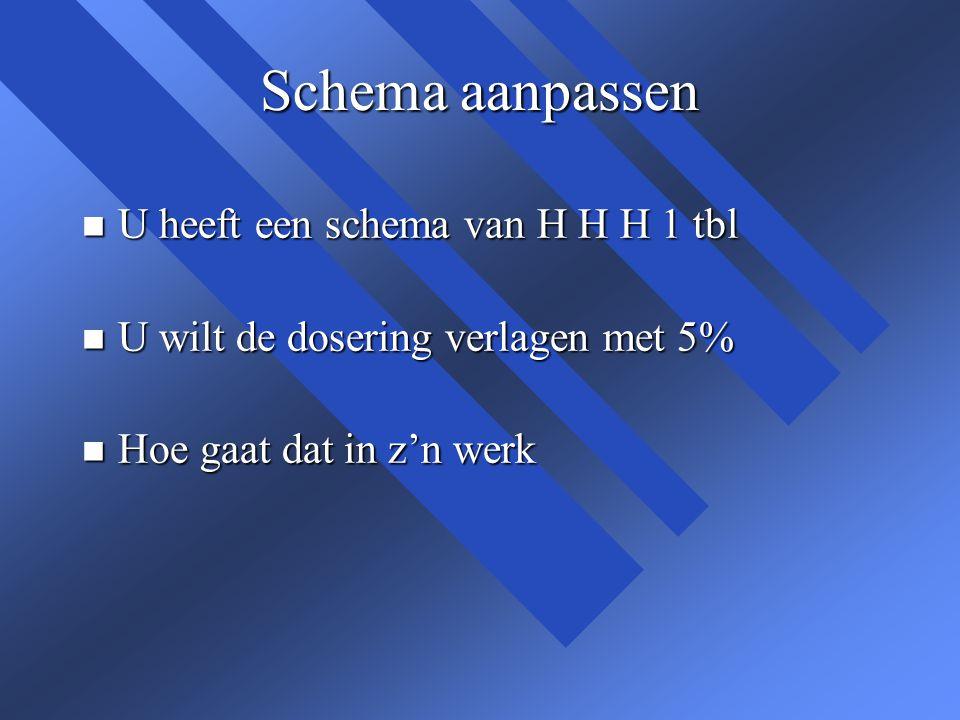 Schema aanpassen n U heeft een schema van H H H 1 tbl n U wilt de dosering verlagen met 5% n Hoe gaat dat in z'n werk