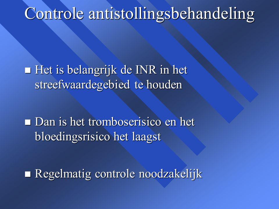 Controle antistollingsbehandeling n Het is belangrijk de INR in het streefwaardegebied te houden n Dan is het tromboserisico en het bloedingsrisico he