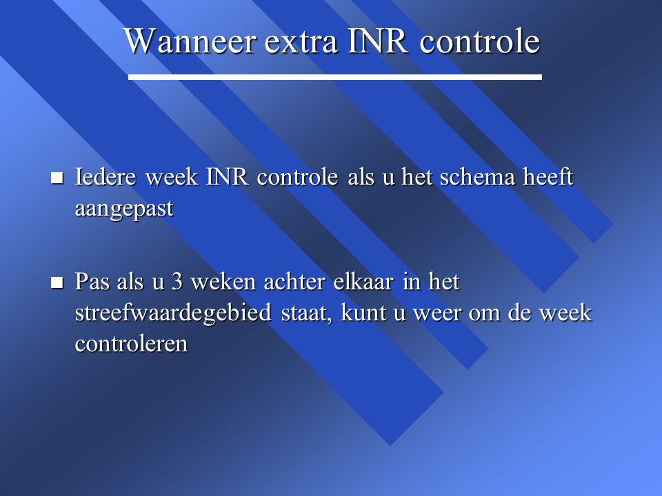 Wanneer extra INR controle n Iedere week INR controle als u het schema heeft aangepast n Pas als u 3 weken achter elkaar in het streefwaardegebied sta