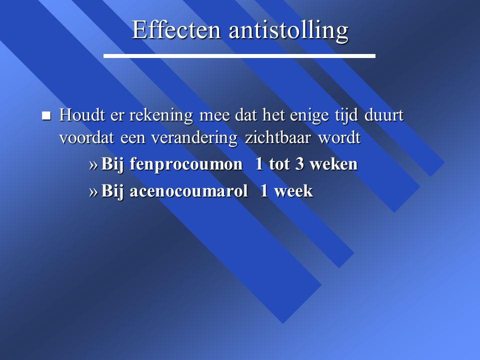 Effecten antistolling n Houdt er rekening mee dat het enige tijd duurt voordat een verandering zichtbaar wordt »Bij fenprocoumon 1 tot 3 weken »Bij ac