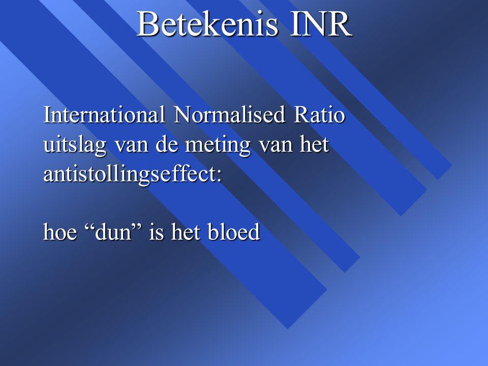 """Betekenis INR International Normalised Ratio uitslag van de meting van het antistollingseffect: hoe """"dun"""" is het bloed"""
