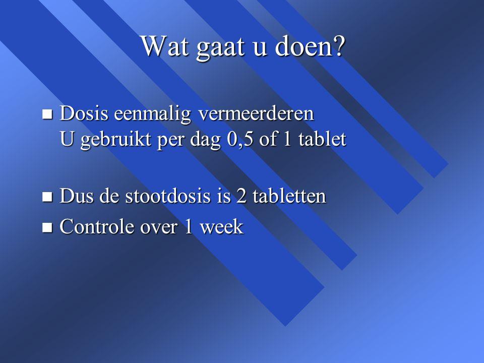 Wat gaat u doen? n Dosis eenmalig vermeerderen U gebruikt per dag 0,5 of 1 tablet n Dus de stootdosis is 2 tabletten n Controle over 1 week