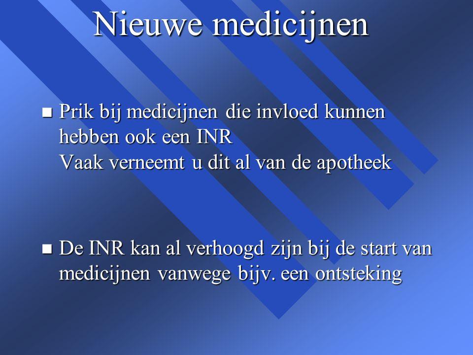 Nieuwe medicijnen n Prik bij medicijnen die invloed kunnen hebben ook een INR Vaak verneemt u dit al van de apotheek n De INR kan al verhoogd zijn bij
