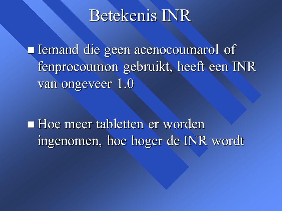 Betekenis INR n Iemand die geen acenocoumarol of fenprocoumon gebruikt, heeft een INR van ongeveer 1.0 n Hoe meer tabletten er worden ingenomen, hoe h