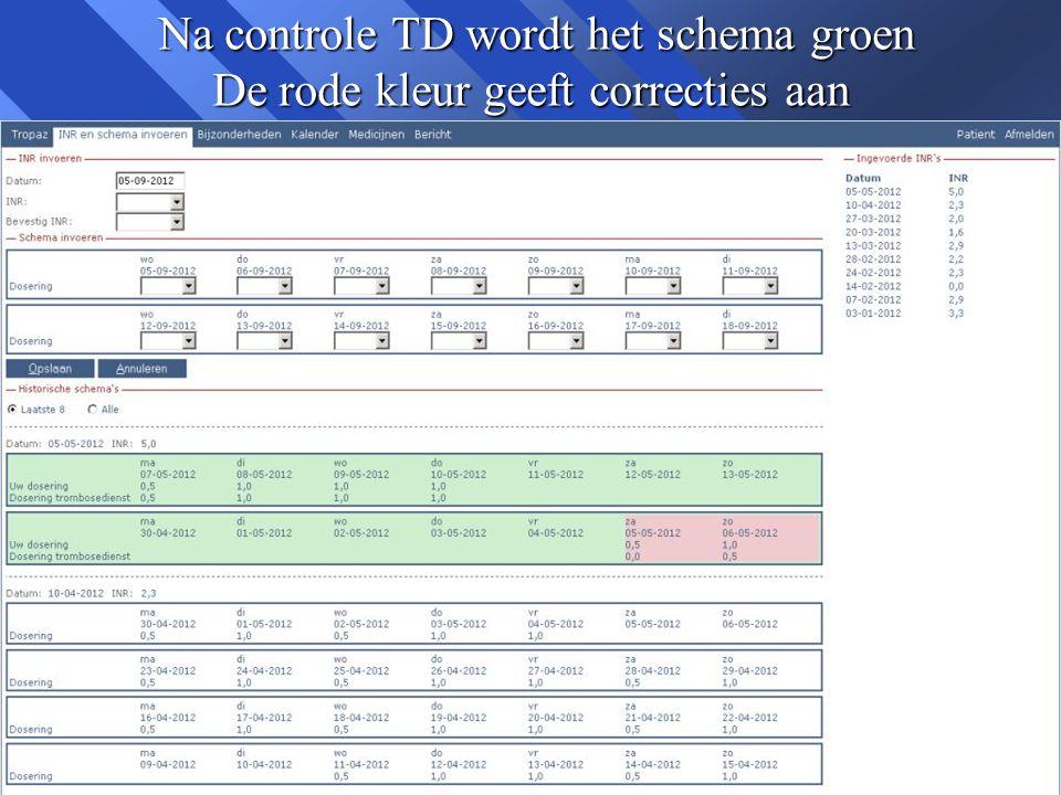 Na controle TD wordt het schema groen De rode kleur geeft correcties aan Na controle TD wordt het schema groen De rode kleur geeft correcties aan