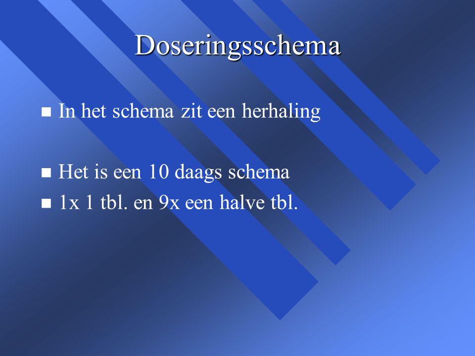 Doseringsschema n n In het schema zit een herhaling n n Het is een 10 daags schema n n 1x 1 tbl. en 9x een halve tbl.