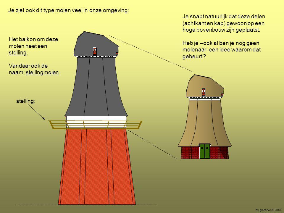 Je ziet ook dit type molen veel in onze omgeving: Je snapt natuurlijk dat deze delen (achtkant en kap) gewoon op een hoge bovenbouw zijn geplaatst. He