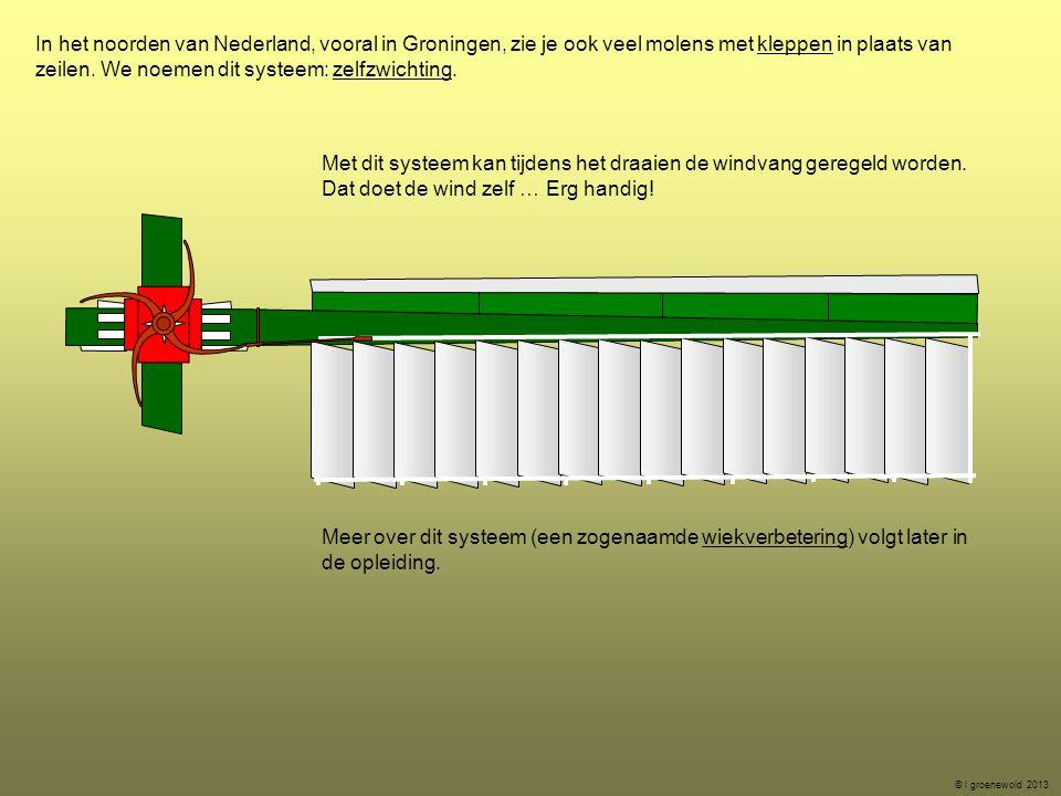 In het noorden van Nederland, vooral in Groningen, zie je ook veel molens met kleppen in plaats van zeilen. We noemen dit systeem: zelfzwichting. Meer