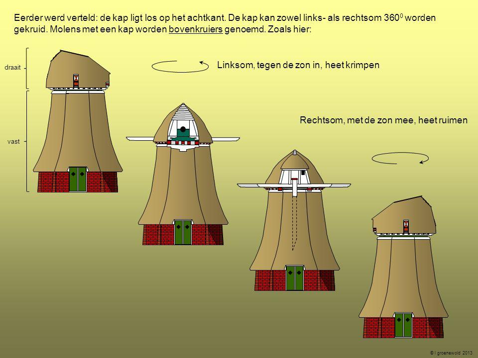 Eerder werd verteld: de kap ligt los op het achtkant. De kap kan zowel links- als rechtsom 360 0 worden gekruid. Molens met een kap worden bovenkruier