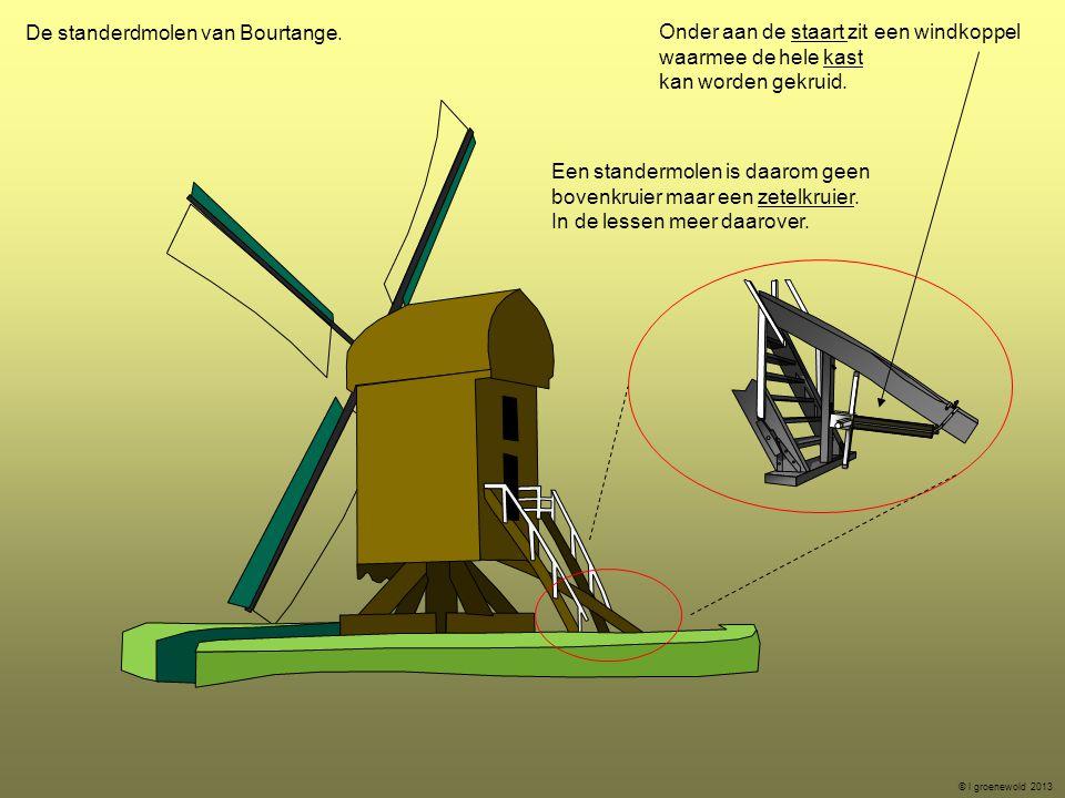 De standerdmolen van Bourtange. Onder aan de staart zit een windkoppel waarmee de hele kast kan worden gekruid. Een standermolen is daarom geen bovenk