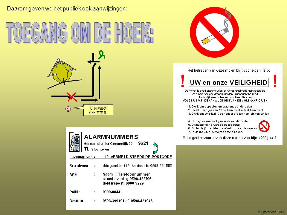 Daarom geven we het publiek ook aanwijzingen: U bevindt zich HIER: © l groenewold 2013 Naam : Telefoonnummer