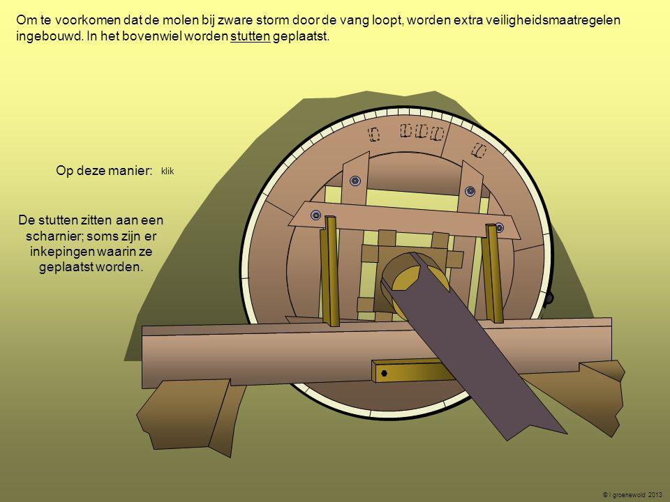 Om te voorkomen dat de molen bij zware storm door de vang loopt, worden extra veiligheidsmaatregelen ingebouwd. In het bovenwiel worden stutten geplaa