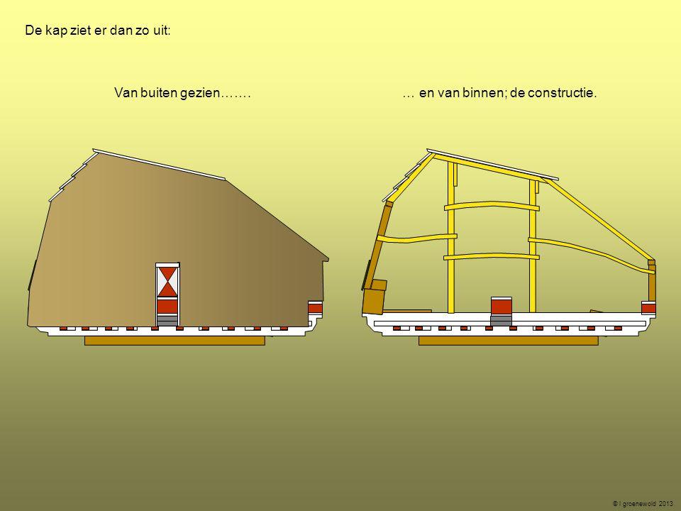 De kap ziet er dan zo uit: Van buiten gezien……. … en van binnen; de constructie. © l groenewold 2013