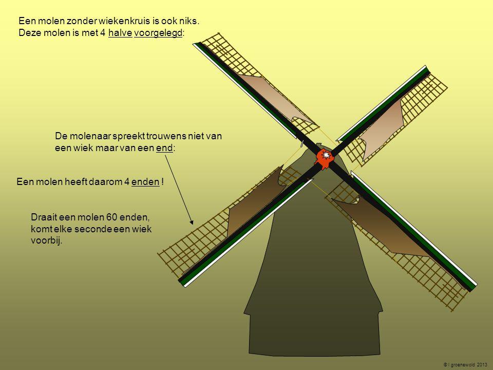 Een molen zonder wiekenkruis is ook niks. Deze molen is met 4 halve voorgelegd: De molenaar spreekt trouwens niet van een wiek maar van een end: Een m