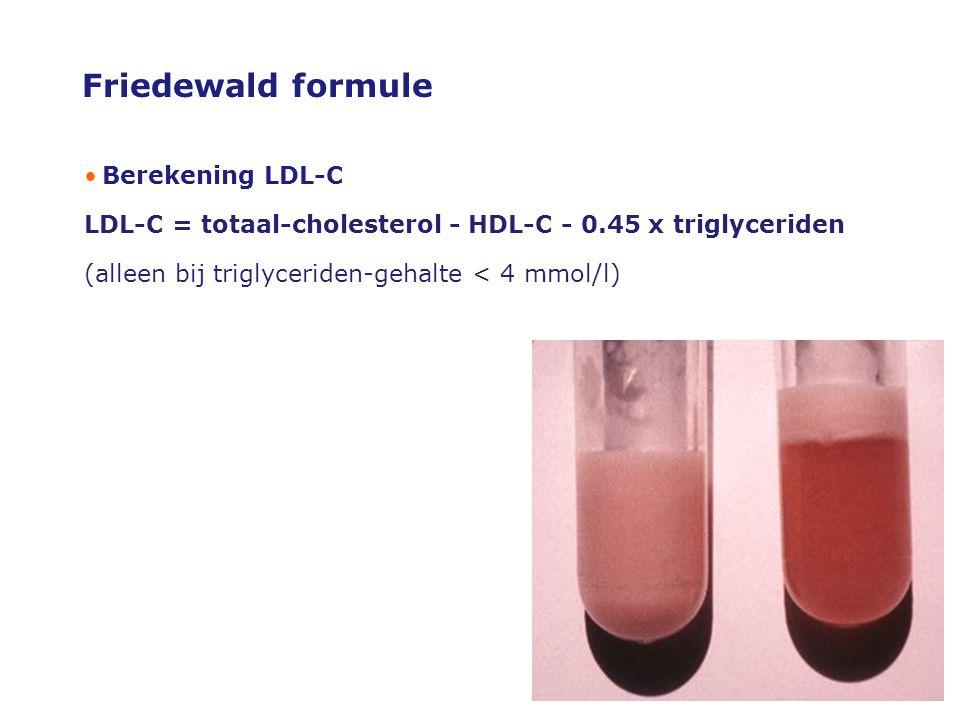 Friedewald formule •Berekening LDL-C LDL-C = totaal-cholesterol - HDL-C - 0.45 x triglyceriden (alleen bij triglyceriden-gehalte < 4 mmol/l)