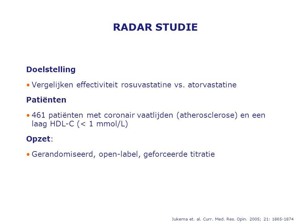 RADAR STUDIE Doelstelling •Vergelijken effectiviteit rosuvastatine vs. atorvastatine Patiënten •461 patiënten met coronair vaatlijden (atherosclerose)