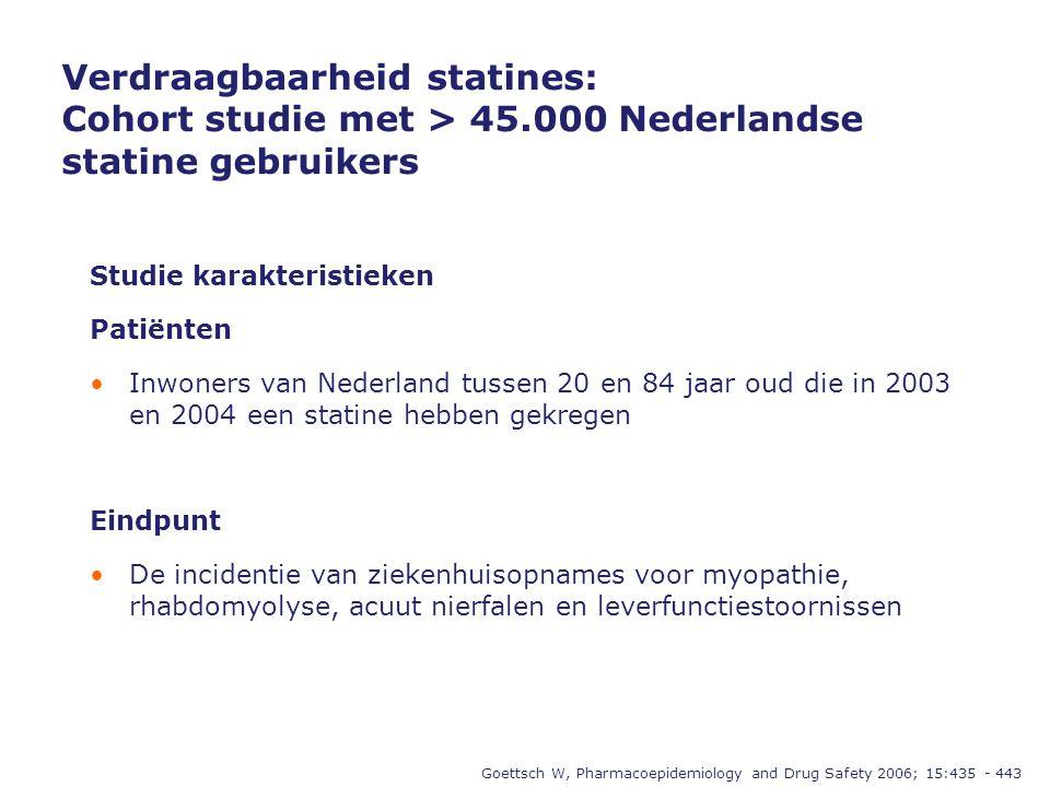 Verdraagbaarheid statines: Cohort studie met > 45.000 Nederlandse statine gebruikers Goettsch W, Pharmacoepidemiology and Drug Safety 2006; 15:435 - 443 Studie karakteristieken Patiënten •Inwoners van Nederland tussen 20 en 84 jaar oud die in 2003 en 2004 een statine hebben gekregen Eindpunt •De incidentie van ziekenhuisopnames voor myopathie, rhabdomyolyse, acuut nierfalen en leverfunctiestoornissen