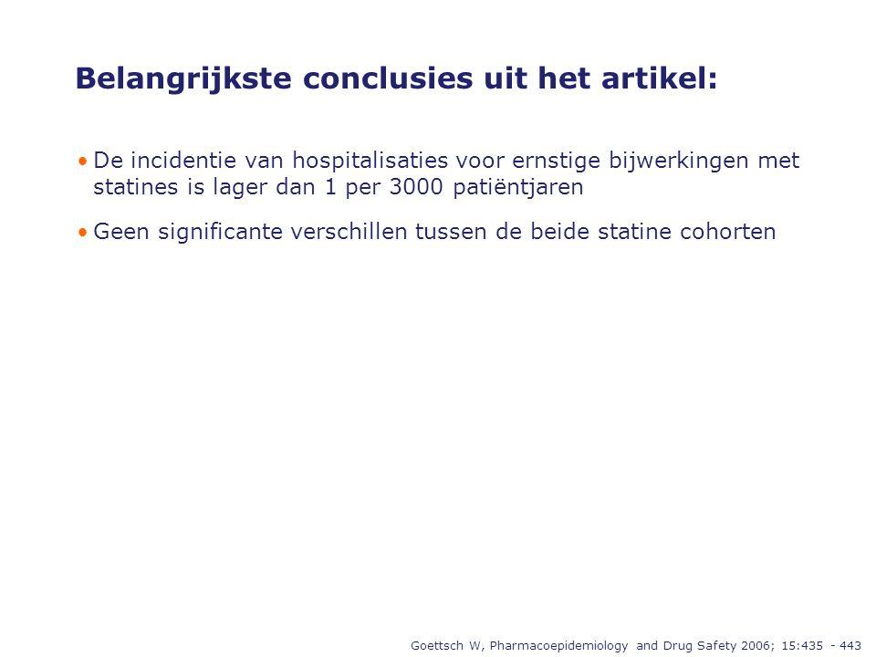 Belangrijkste conclusies uit het artikel: •De incidentie van hospitalisaties voor ernstige bijwerkingen met statines is lager dan 1 per 3000 patiëntjaren •Geen significante verschillen tussen de beide statine cohorten Goettsch W, Pharmacoepidemiology and Drug Safety 2006; 15:435 - 443
