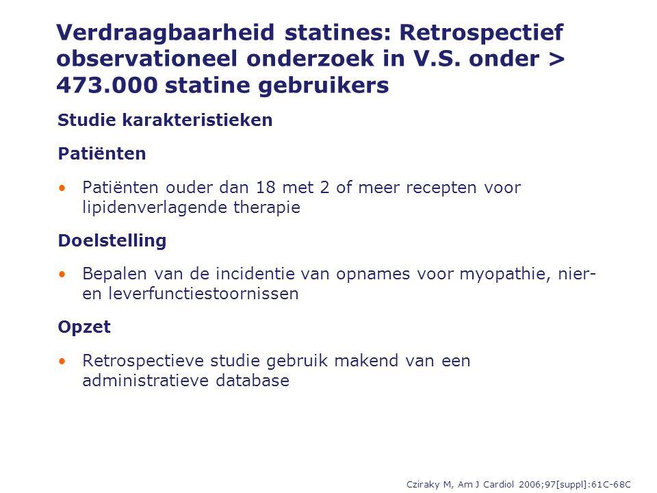 Verdraagbaarheid statines: Retrospectief observationeel onderzoek in V.S. onder > 473.000 statine gebruikers Cziraky M, Am J Cardiol 2006;97[suppl]:61