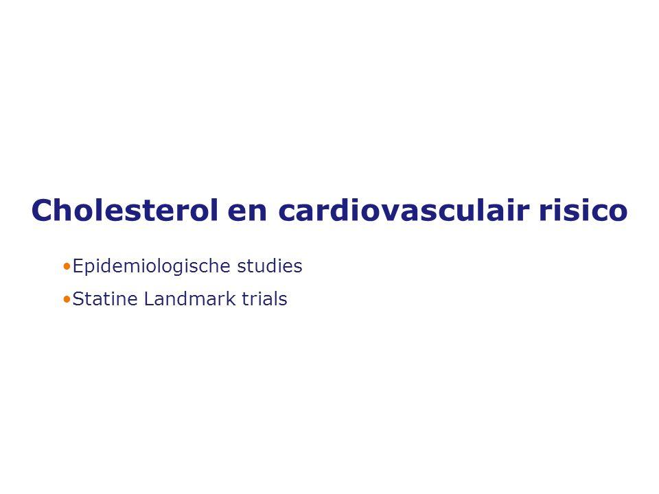 Versie 19-10-2005 Cholesterol en cardiovasculair risico •Epidemiologische studies •Statine Landmark trials