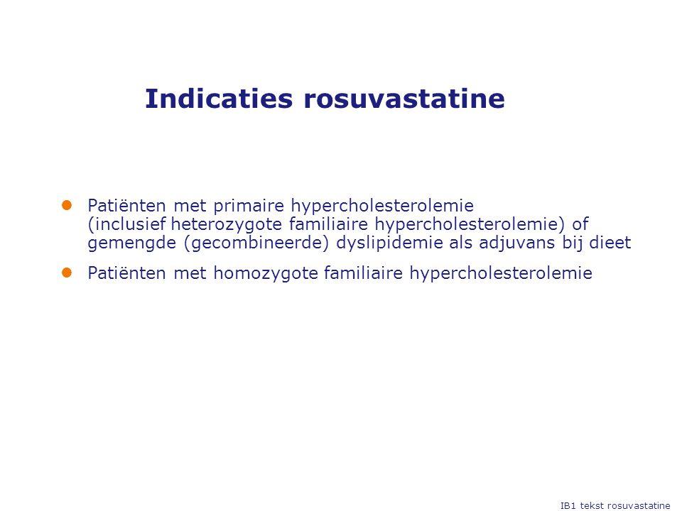 Indicaties rosuvastatine IB1 tekst rosuvastatine  Patiënten met primaire hypercholesterolemie (inclusief heterozygote familiaire hypercholesterolemie) of gemengde (gecombineerde) dyslipidemie als adjuvans bij dieet  Patiënten met homozygote familiaire hypercholesterolemie