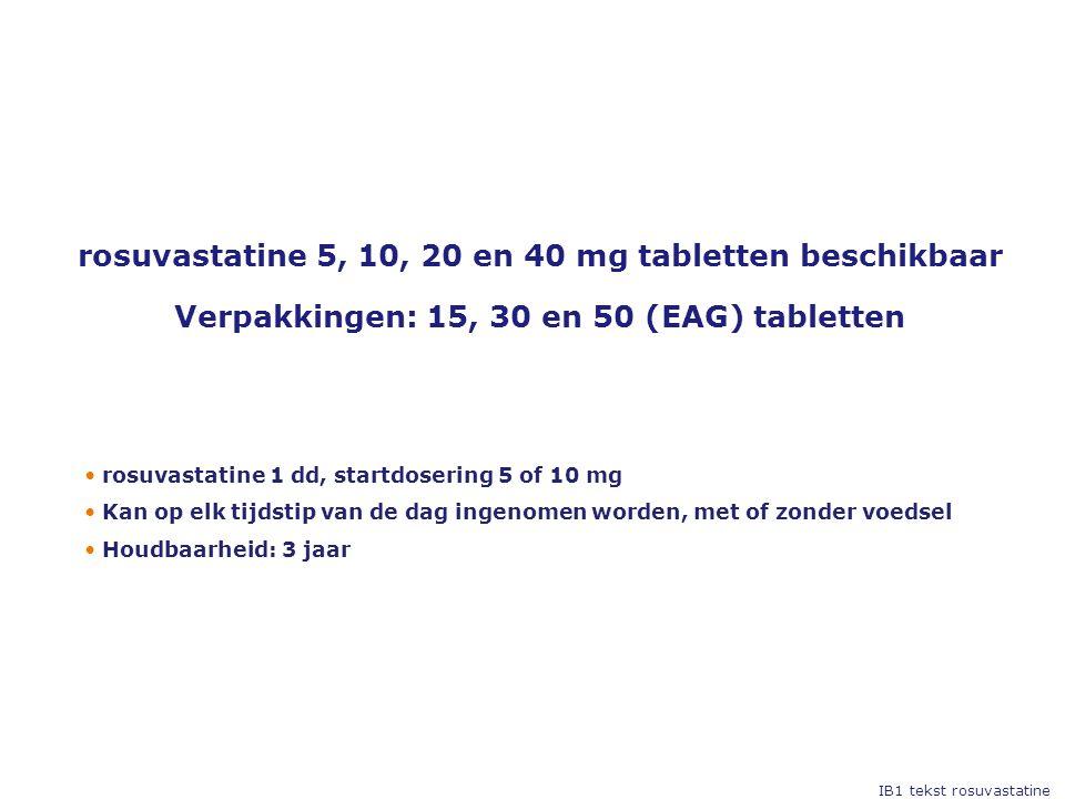 • rosuvastatine 1 dd, startdosering 5 of 10 mg • Kan op elk tijdstip van de dag ingenomen worden, met of zonder voedsel • Houdbaarheid: 3 jaar rosuvastatine 5, 10, 20 en 40 mg tabletten beschikbaar Verpakkingen: 15, 30 en 50 (EAG) tabletten IB1 tekst rosuvastatine