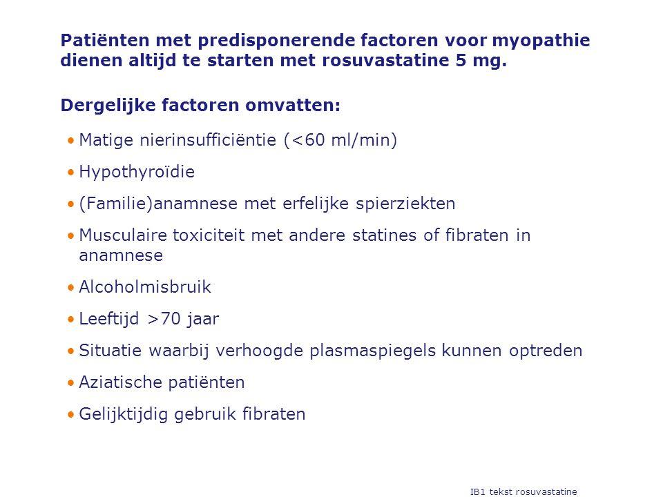 Patiënten met predisponerende factoren voor myopathie dienen altijd te starten met rosuvastatine 5 mg.