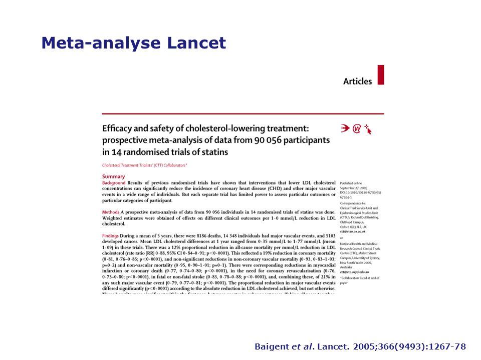 Meta-analyse Lancet Baigent et al. Lancet. 2005;366(9493):1267-78