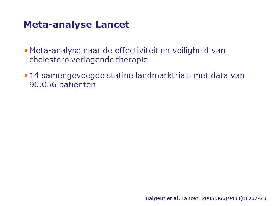 Meta-analyse Lancet •Meta-analyse naar de effectiviteit en veiligheid van cholesterolverlagende therapie •14 samengevoegde statine landmarktrials met data van 90.056 patiënten Baigent et al.