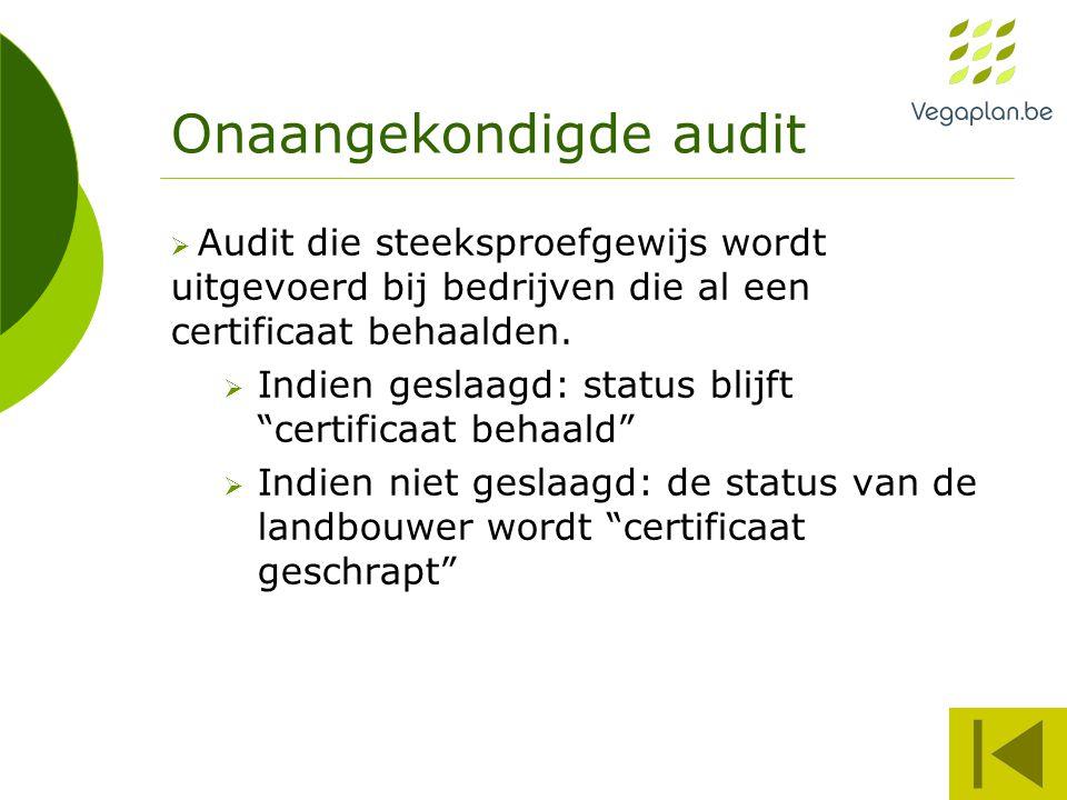 Onaangekondigde audit  Audit die steeksproefgewijs wordt uitgevoerd bij bedrijven die al een certificaat behaalden.  Indien geslaagd: status blijft