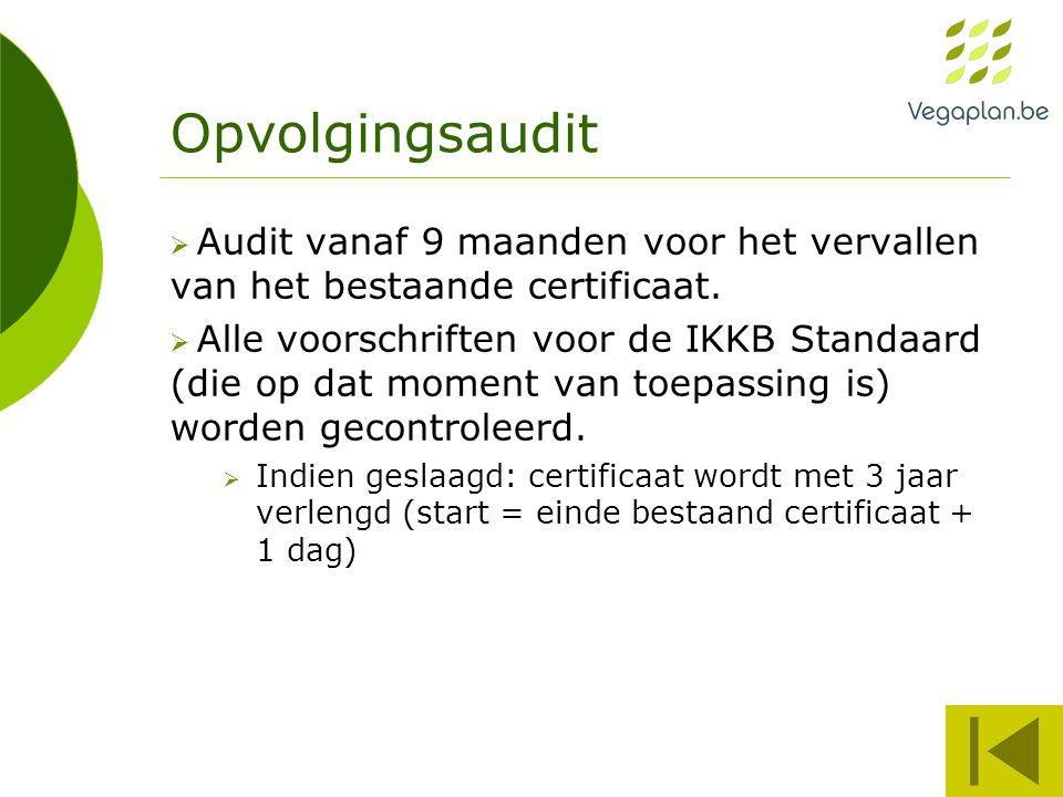Opvolgingsaudit  Audit vanaf 9 maanden voor het vervallen van het bestaande certificaat.  Alle voorschriften voor de IKKB Standaard (die op dat mome