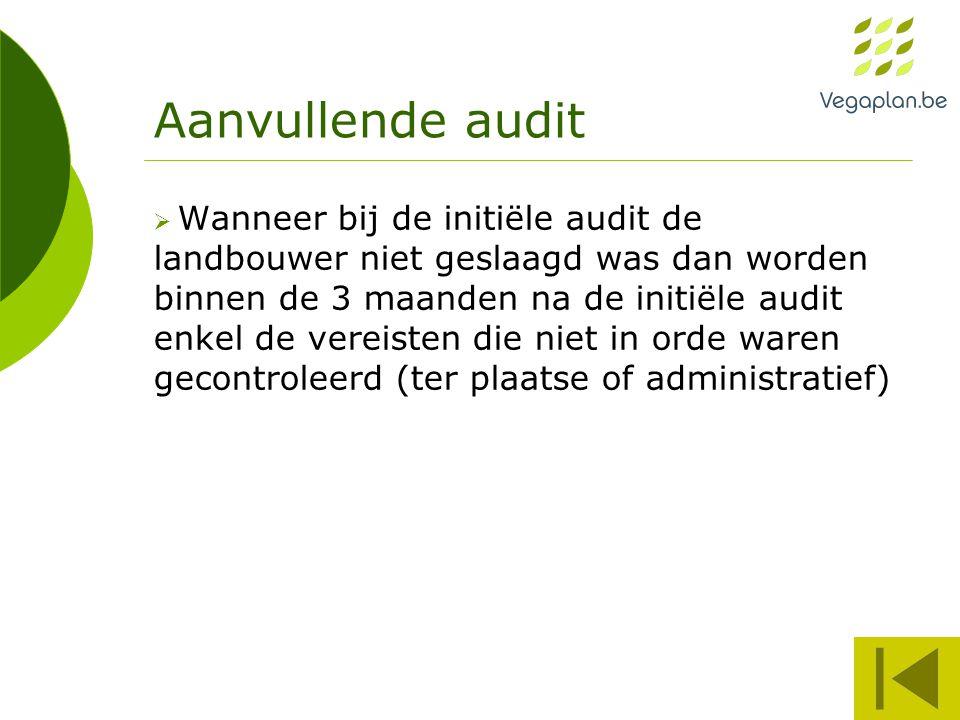 Aanvullende audit  Wanneer bij de initiële audit de landbouwer niet geslaagd was dan worden binnen de 3 maanden na de initiële audit enkel de vereist
