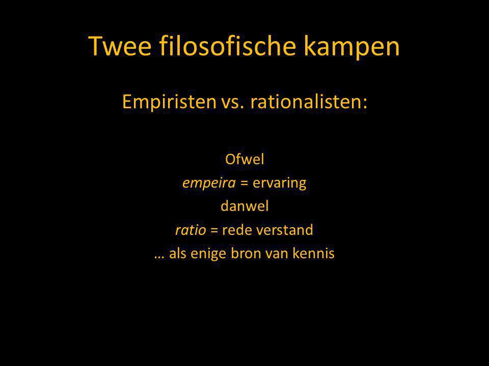 Twee filosofische kampen Empiristen vs.