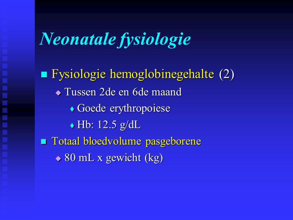Neonatale fysiologie  Fysiologie hemoglobinegehalte (2)  Tussen 2de en 6de maand  Goede erythropoiese  Hb: 12.5 g/dL  Totaal bloedvolume pasgeborene  80 mL x gewicht (kg)