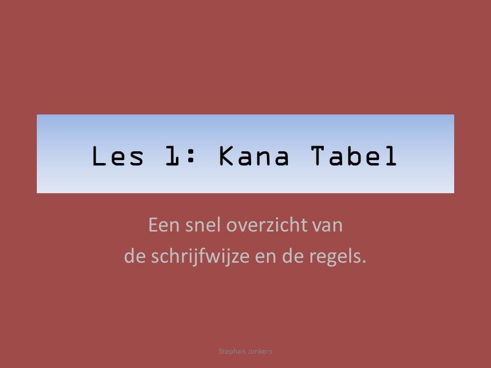 Les 1: Kana Tabel Een snel overzicht van de schrijfwijze en de regels. Stephan Jonkers