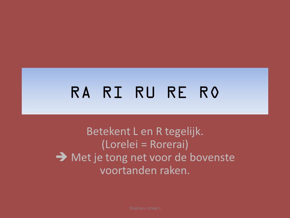 RA RI RU RE RO Betekent L en R tegelijk.