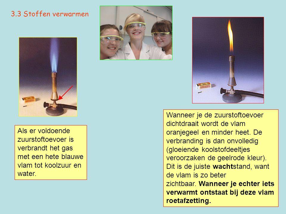 3.3 Stoffen verwarmen Als er voldoende zuurstoftoevoer is verbrandt het gas met een hete blauwe vlam tot koolzuur en water. Wanneer je de zuurstoftoev