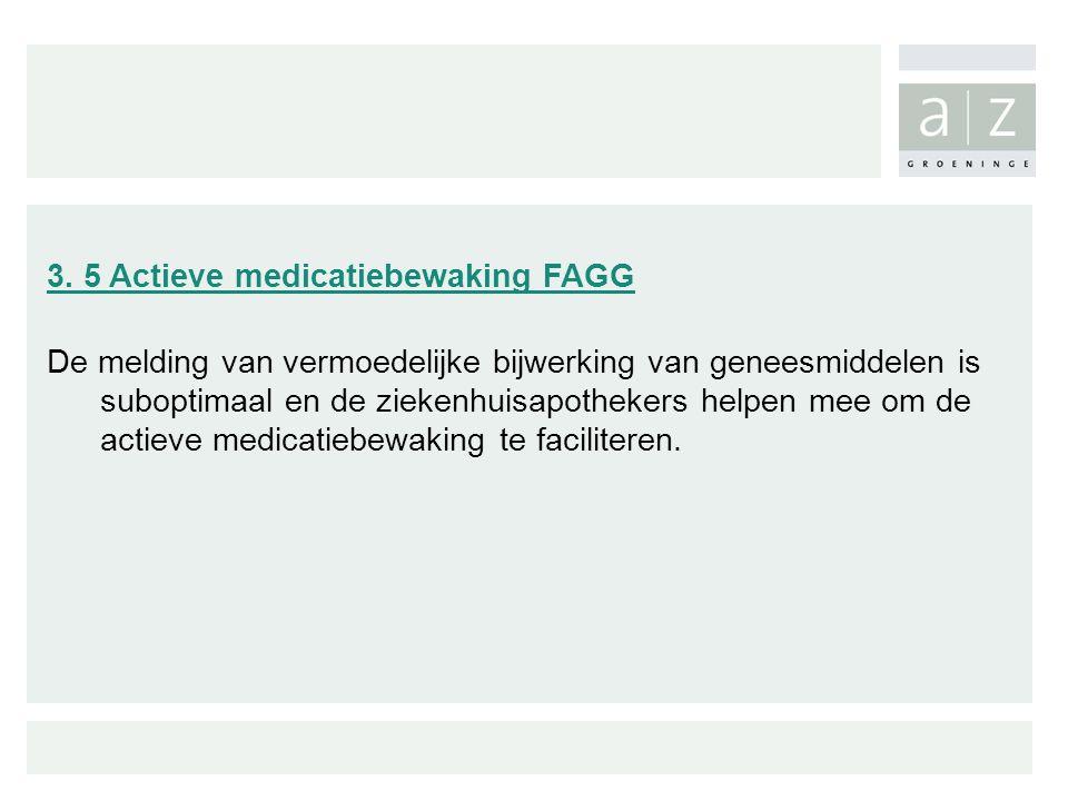 3. 5 Actieve medicatiebewaking FAGG De melding van vermoedelijke bijwerking van geneesmiddelen is suboptimaal en de ziekenhuisapothekers helpen mee om