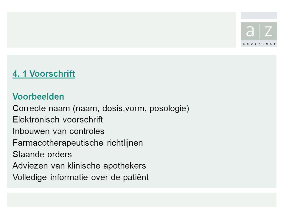 4. 1 Voorschrift Voorbeelden Correcte naam (naam, dosis,vorm, posologie) Elektronisch voorschrift Inbouwen van controles Farmacotherapeutische richtli