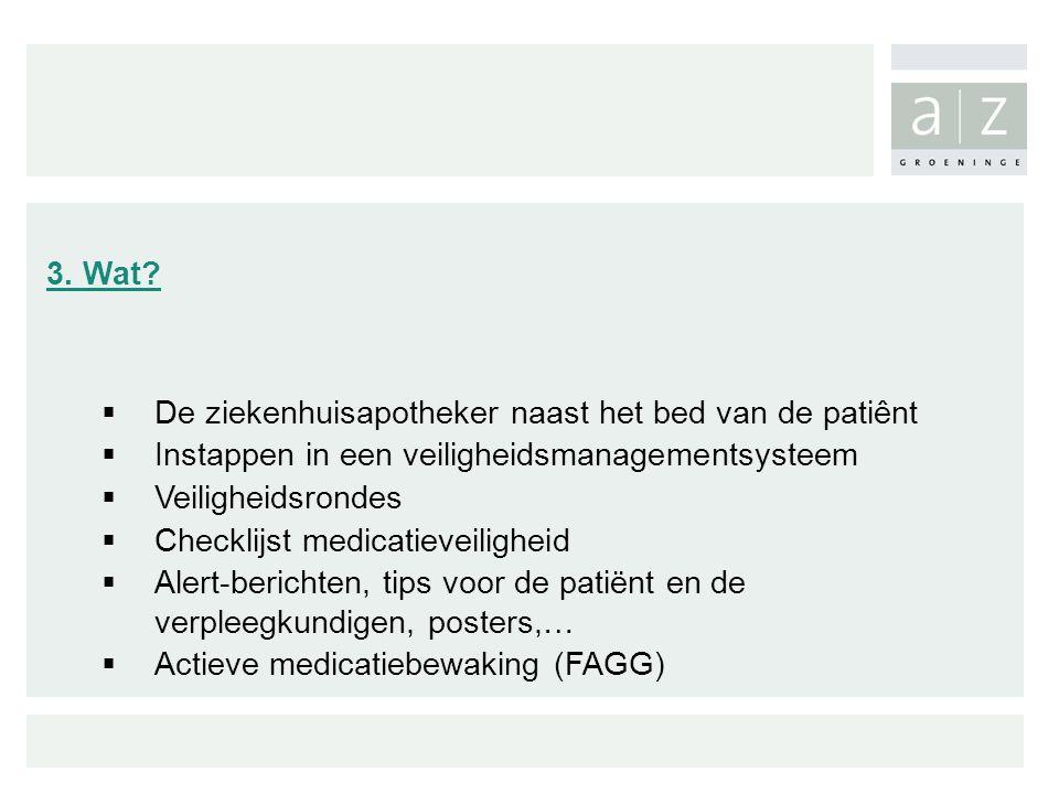 3. Wat?  De ziekenhuisapotheker naast het bed van de patiênt  Instappen in een veiligheidsmanagementsysteem  Veiligheidsrondes  Checklijst medicat