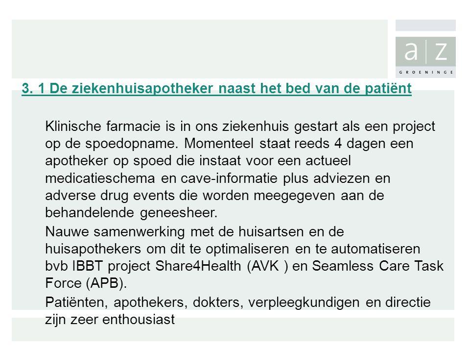 3. 1 De ziekenhuisapotheker naast het bed van de patiënt Klinische farmacie is in ons ziekenhuis gestart als een project op de spoedopname. Momenteel