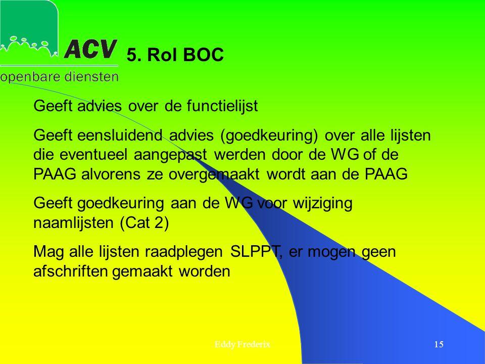 Eddy Frederix15 5. Rol BOC Geeft advies over de functielijst Geeft eensluidend advies (goedkeuring) over alle lijsten die eventueel aangepast werden d