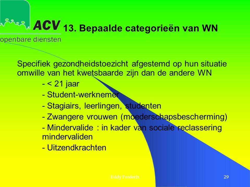 Eddy Frederix29 13. Bepaalde categorieën van WN Specifiek gezondheidstoezicht afgestemd op hun situatie omwille van het kwetsbaarde zijn dan de andere
