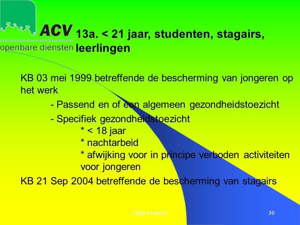 Eddy Frederix30 13a. < 21 jaar, studenten, stagairs, leerlingen KB 03 mei 1999 betreffende de bescherming van jongeren op het werk - Passend en of een
