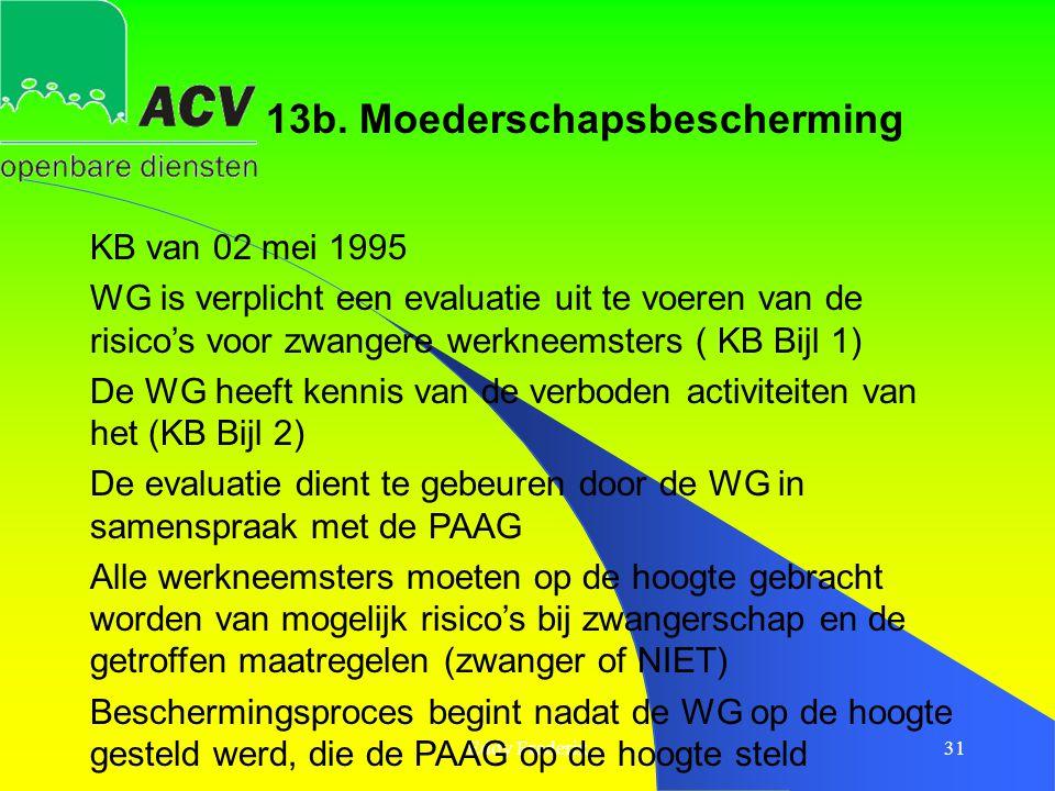 Eddy Frederix31 KB van 02 mei 1995 WG is verplicht een evaluatie uit te voeren van de risico's voor zwangere werkneemsters ( KB Bijl 1) De WG heeft ke